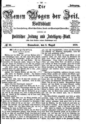 Neue Wogen der Zeit vom 06.08.1870