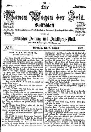 Neue Wogen der Zeit vom 09.08.1870