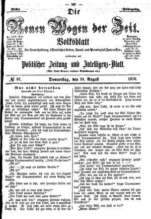 Neue Wogen der Zeit vom 18.08.1870