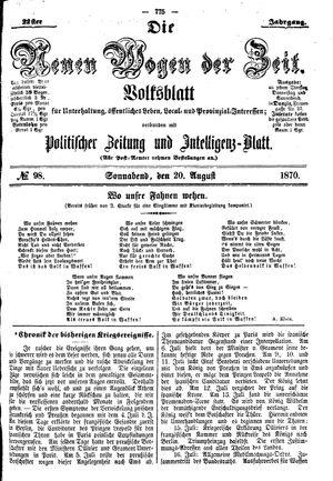 Neue Wogen der Zeit vom 20.08.1870