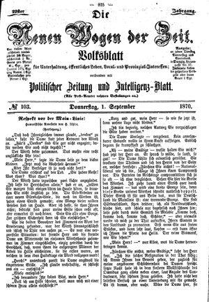 Neue Wogen der Zeit vom 01.09.1870