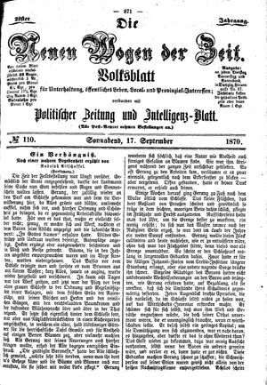 Neue Wogen der Zeit vom 17.09.1870