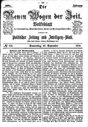 Neue Wogen der Zeit vom 22.09.1870