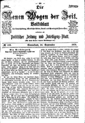 Neue Wogen der Zeit vom 24.09.1870