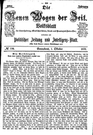 Neue Wogen der Zeit vom 01.10.1870