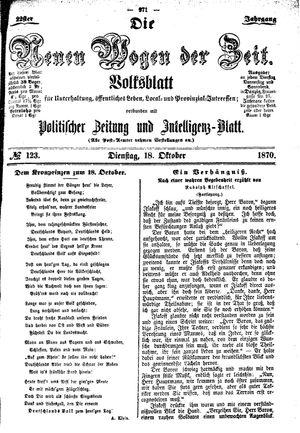 Neue Wogen der Zeit vom 18.10.1870
