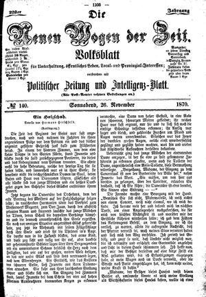 Neue Wogen der Zeit vom 26.11.1870