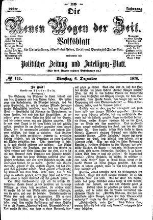 Neue Wogen der Zeit vom 06.12.1870