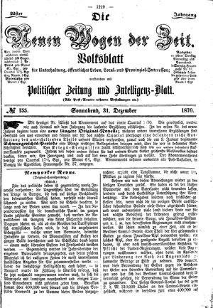 Neue Wogen der Zeit vom 31.12.1870