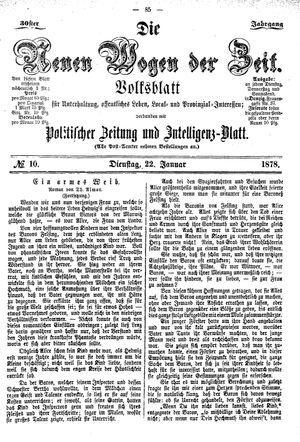 Neue Wogen der Zeit vom 22.01.1878