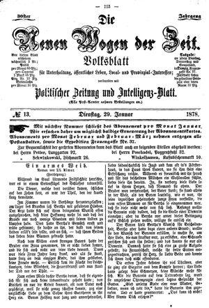 Neue Wogen der Zeit vom 29.01.1878