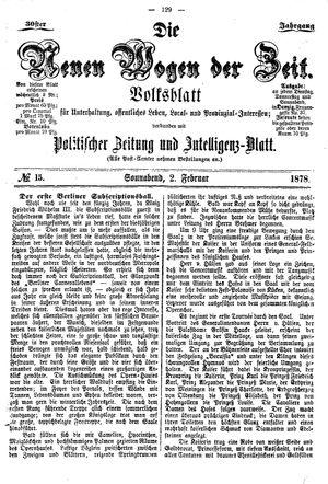 Neue Wogen der Zeit vom 02.02.1878