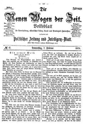Neue Wogen der Zeit vom 07.02.1878