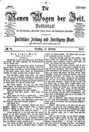 Neue Wogen der Zeit vom 12.02.1878