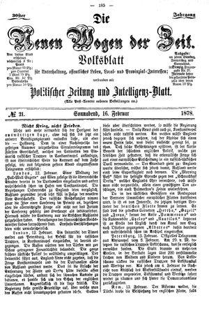 Neue Wogen der Zeit vom 16.02.1878