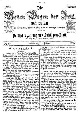 Neue Wogen der Zeit vom 21.02.1878