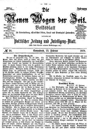 Neue Wogen der Zeit vom 23.02.1878