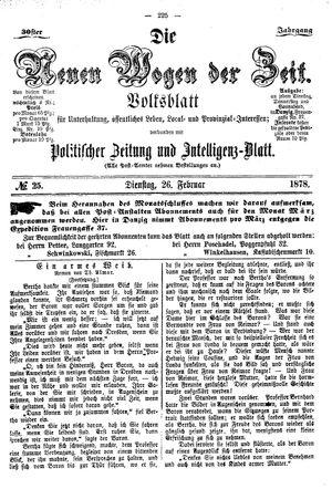 Neue Wogen der Zeit vom 26.02.1878