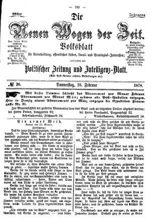 Neue Wogen der Zeit vom 28.02.1878