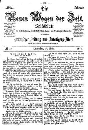 Neue Wogen der Zeit vom 14.03.1878