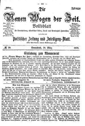 Neue Wogen der Zeit vom 30.03.1878