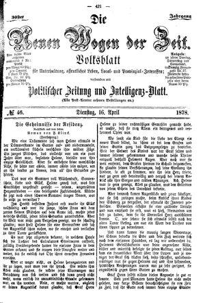 Neue Wogen der Zeit vom 16.04.1878