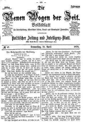 Neue Wogen der Zeit vom 18.04.1878