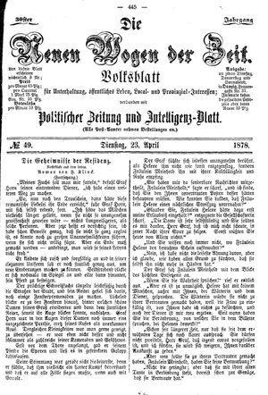 Neue Wogen der Zeit vom 23.04.1878