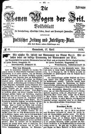 Neue Wogen der Zeit vom 27.04.1878