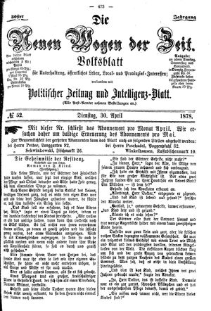 Neue Wogen der Zeit vom 30.04.1878