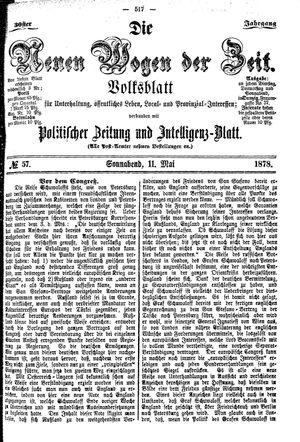 Neue Wogen der Zeit vom 11.05.1878