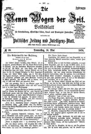 Neue Wogen der Zeit vom 16.05.1878