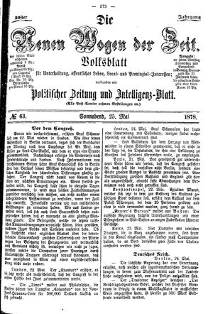 Neue Wogen der Zeit vom 25.05.1878
