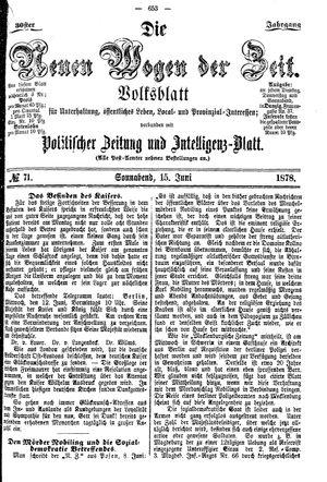 Neue Wogen der Zeit vom 15.06.1878