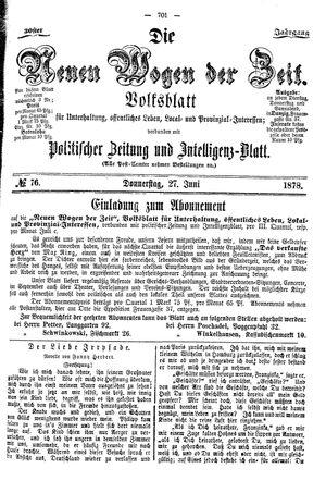 Neue Wogen der Zeit vom 27.06.1878