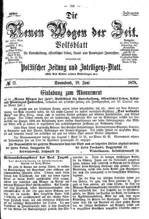 Neue Wogen der Zeit vom 29.06.1878