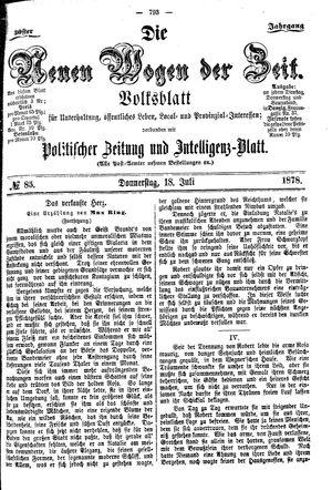 Neue Wogen der Zeit vom 18.07.1878