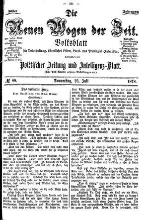 Neue Wogen der Zeit vom 25.07.1878