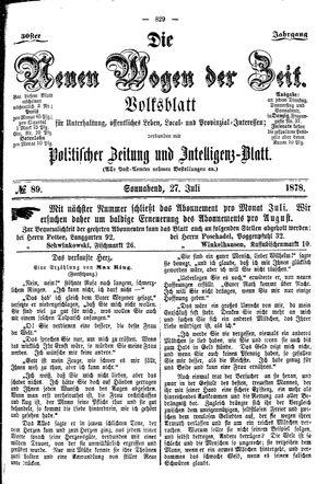 Neue Wogen der Zeit vom 27.07.1878