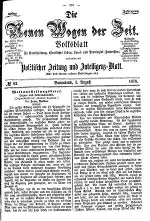 Neue Wogen der Zeit vom 03.08.1878