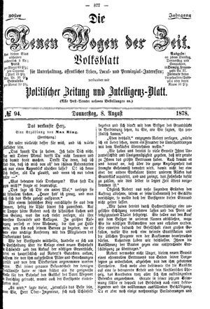 Neue Wogen der Zeit vom 08.08.1878