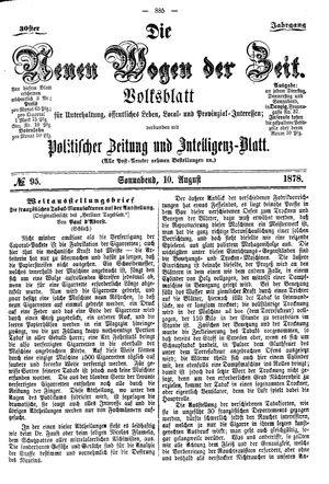 Neue Wogen der Zeit vom 10.08.1878