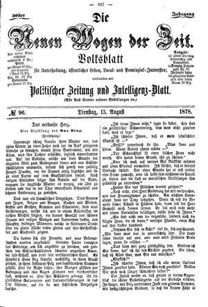 Neue Wogen der Zeit vom 13.08.1878