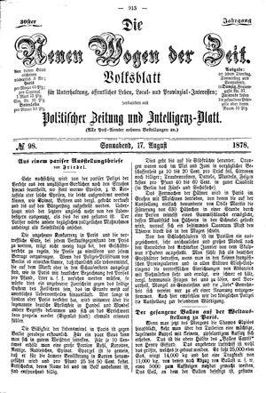 Neue Wogen der Zeit vom 17.08.1878