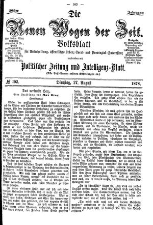 Neue Wogen der Zeit vom 27.08.1878