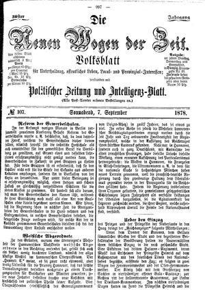 Neue Wogen der Zeit vom 07.09.1878