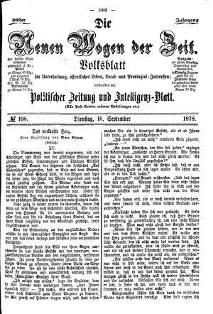 Neue Wogen der Zeit vom 10.09.1878