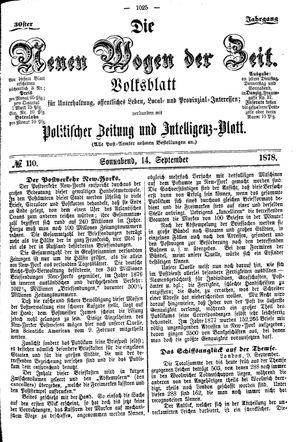 Neue Wogen der Zeit vom 14.09.1878