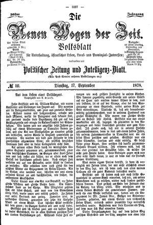 Neue Wogen der Zeit vom 17.09.1878