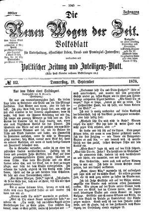 Neue Wogen der Zeit vom 19.09.1878